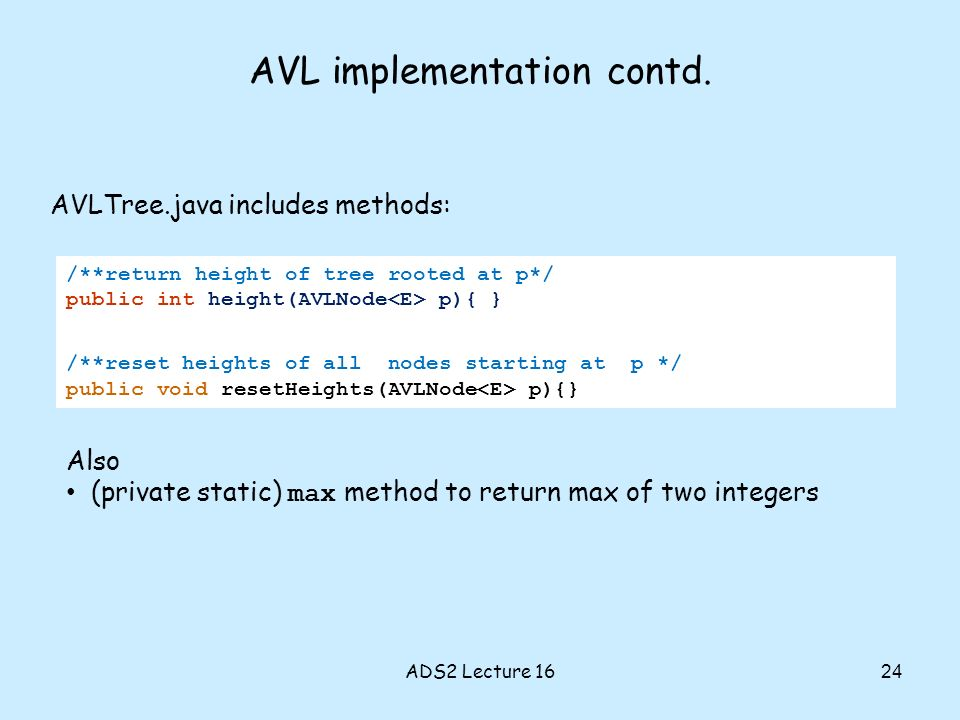 AVL implementation contd.