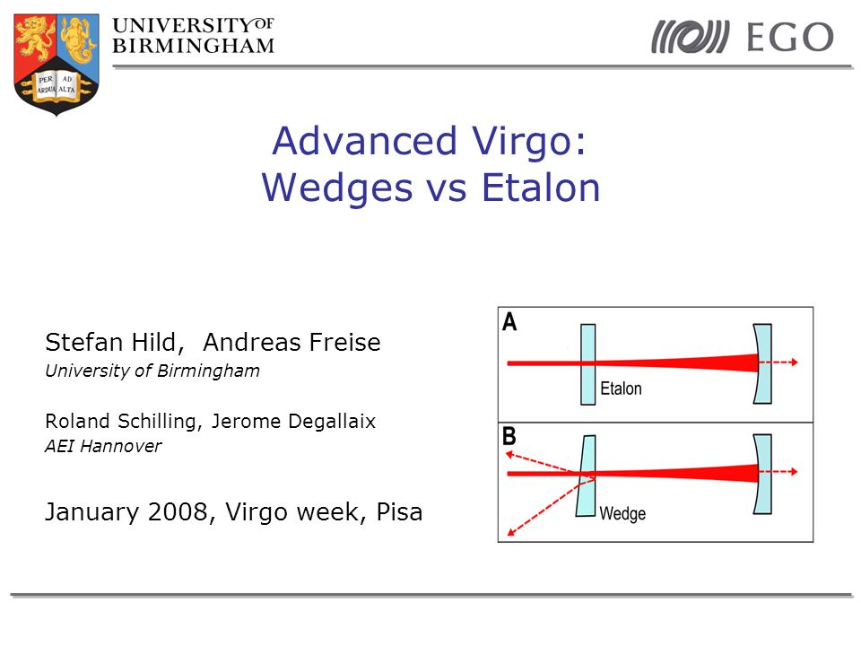 Stefan HildVirgo week January 2008Slide 2 Motivation: Input mirror without wedge Initial Virgo has no wedges in the input mirrors The etalon effect could be used for adjusting the cavity finesse (compensating for differential losses) If etalon effect is not controlled it might cause problems