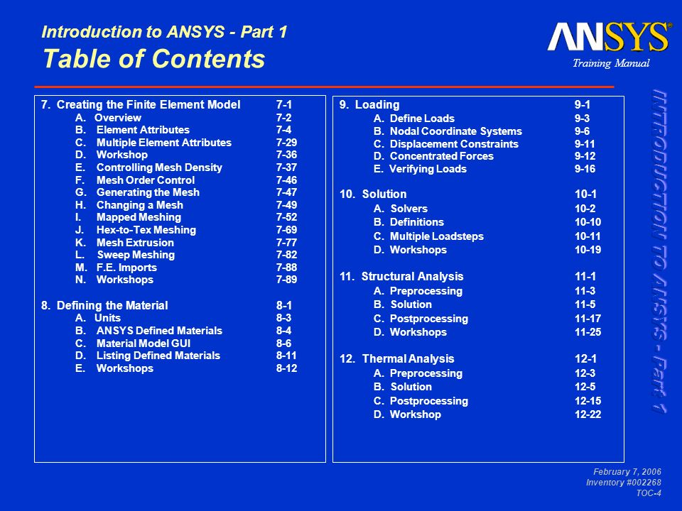 Training Manual February 7, 2006 Inventory #002268 TOC-5 Introduction to ANSYS - Part 1 Table of Contents 13.