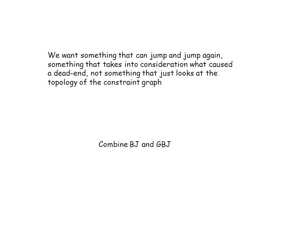 We want something that can jump and jump again, something that takes into consideration what caused a dead-end, not something that just looks at the topology of the constraint graph Combine BJ and GBJ