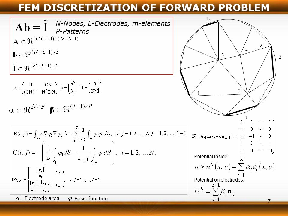 7 FEM DISCRETIZATION OF FORWARD PROBLEM Electrode area Basis function N-Nodes, L-Electrodes, m-elements P-Patterns 1 2 3 4 N 1 L 2 Potential inside: Potential on electrodes: