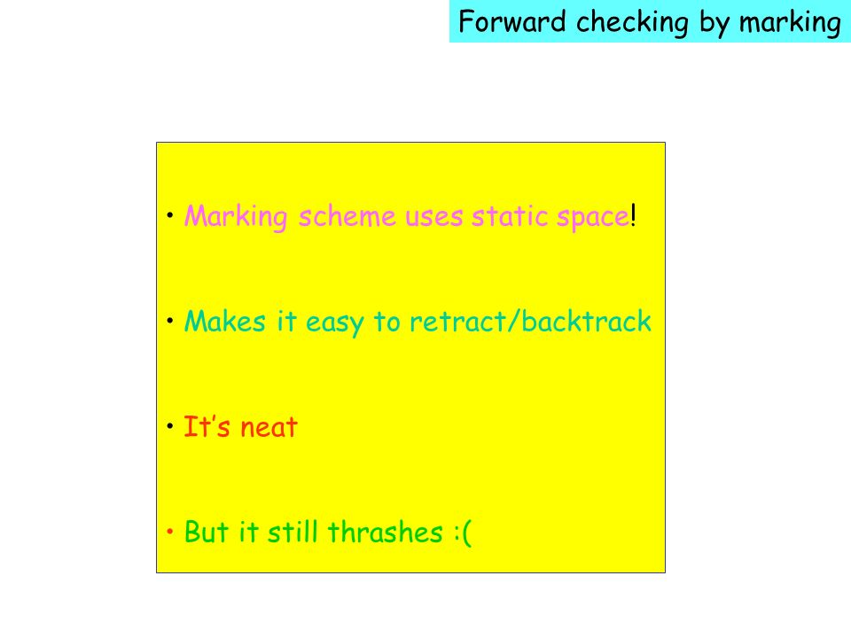 Forward checking by marking Marking scheme uses static space.