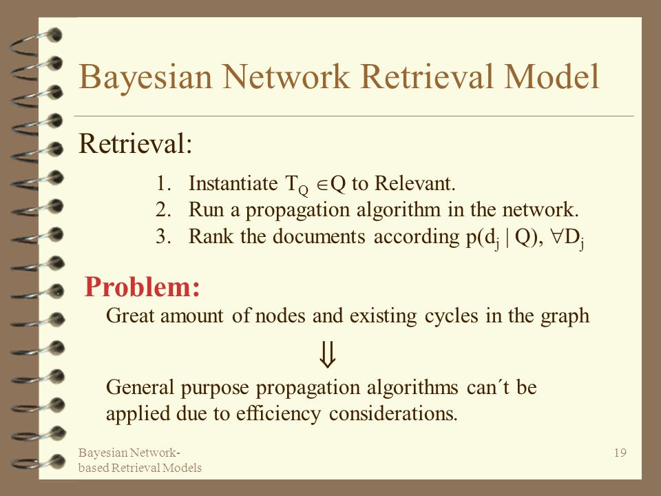 Bayesian Network- based Retrieval Models 19 Bayesian Network Retrieval Model Retrieval: 1.Instantiate T Q Q to Relevant. 2.Run a propagation algorithm