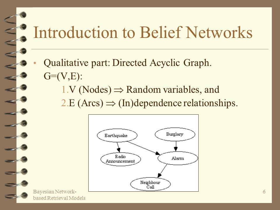 Bayesian Network- based Retrieval Models 6 Introduction to Belief Networks Qualitative part: Directed Acyclic Graph. G=(V,E): 1.V (Nodes) Random varia