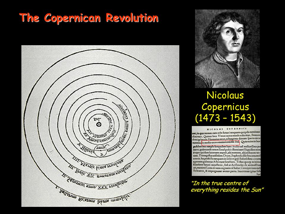 Nicolaus Copernicus (1473 – 1543) In the true centre of everything resides the Sun The Copernican Revolution