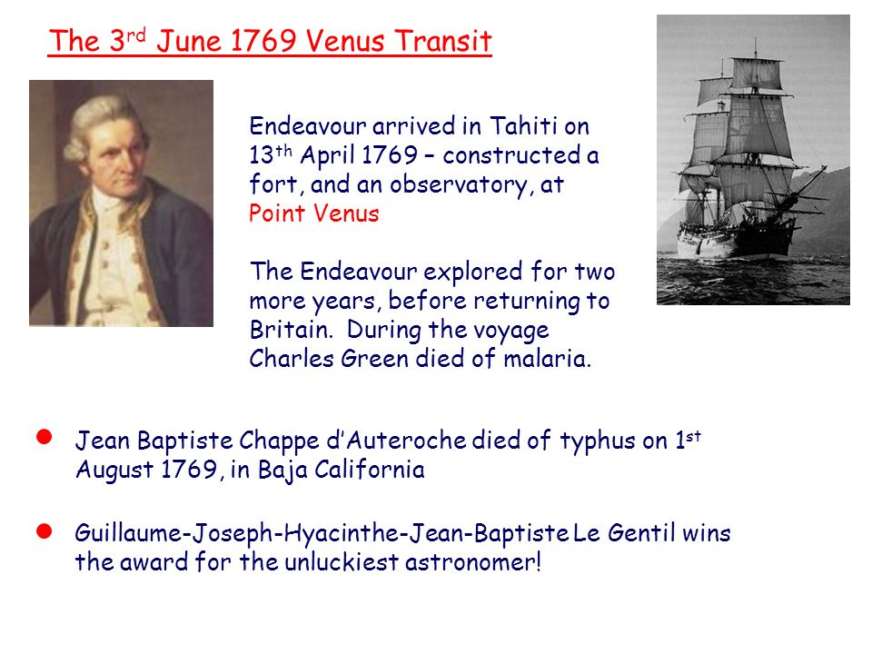 Captain James Cook The 3 rd June 1769 Venus Transit Endeavour arrived in Tahiti on 13 th April 1769 – constructed a fort, and an observatory, at Point Venus The Endeavour explored for two more years, before returning to Britain.