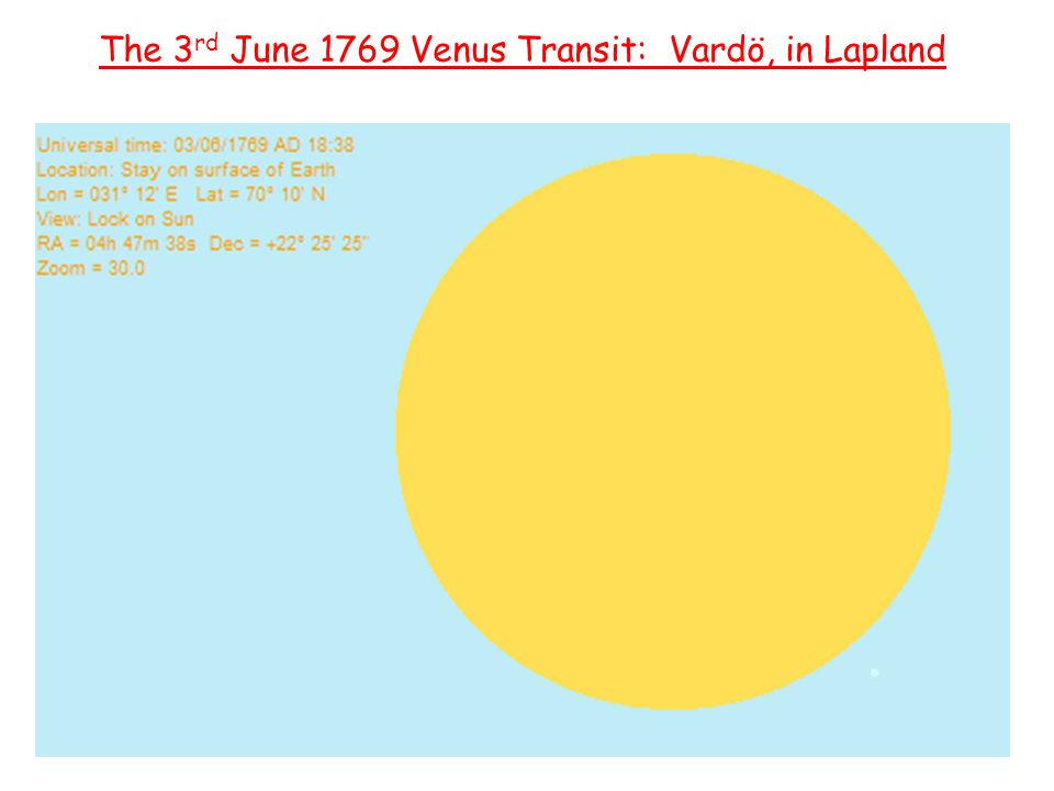 Captain James Cook The 3 rd June 1769 Venus Transit: Vardö, in Lapland