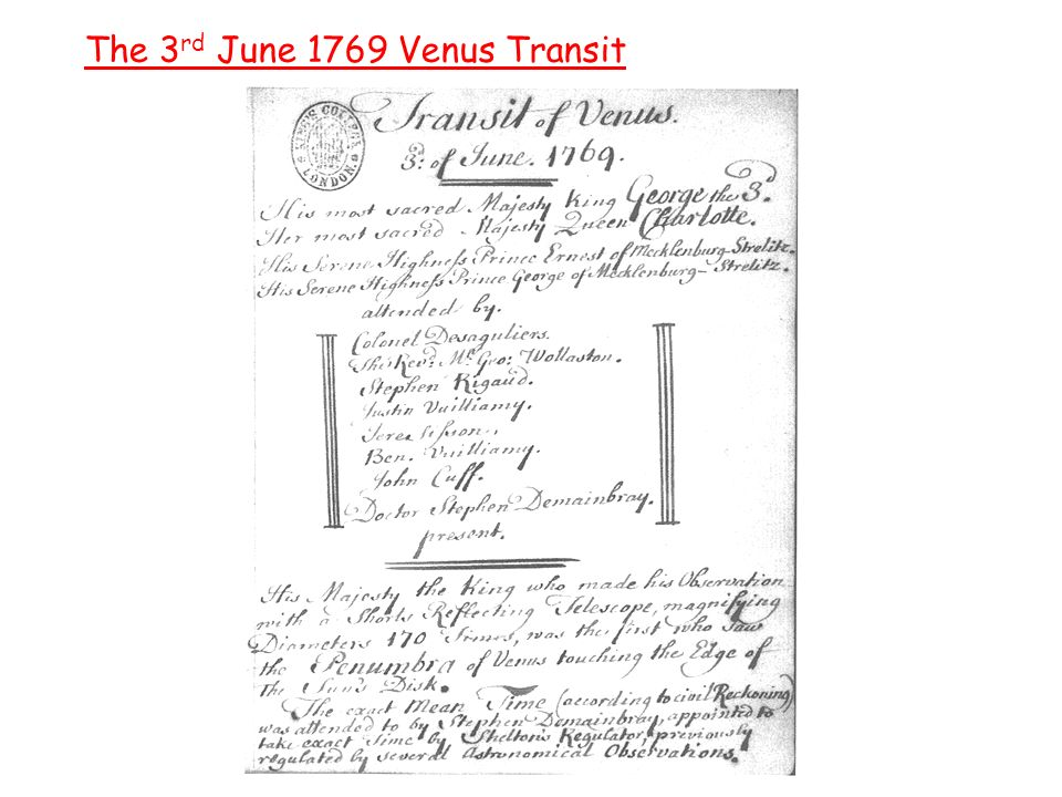 The 3 rd June 1769 Venus Transit