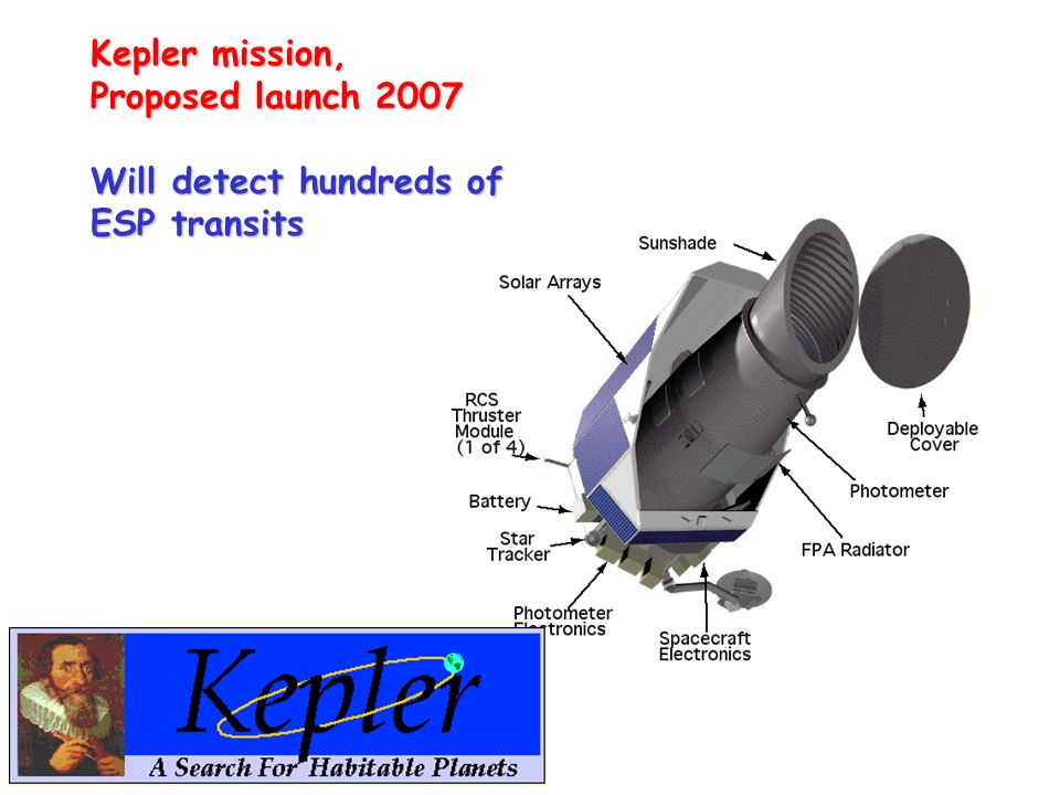 Kepler mission, Proposed launch 2007 Will detect hundreds of ESP transits