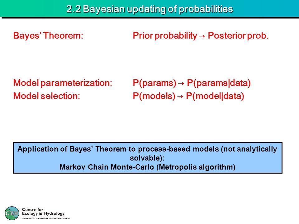 2.2 Bayesian updating of probabilities Model parameterization:P(params) P(params|data) Model selection:P(models) P(model|data) Bayes Theorem:Prior pro