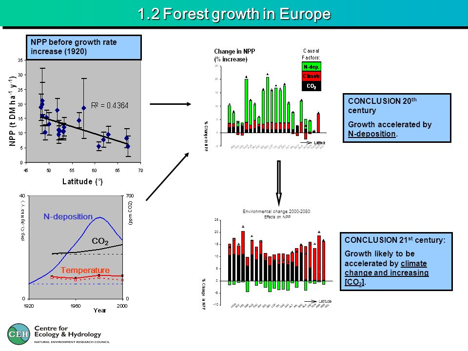 1.2 Forest growth in Europe NPP before growth rate increase (1920) CONCLUSION 20 th century Growth accelerated by N-deposition. N-deposition CO 2 Temp