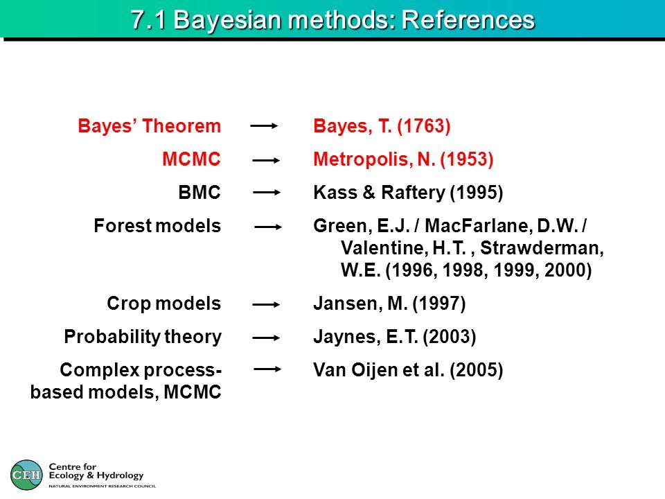 7.1 Bayesian methods: References Bayes, T. (1763) Metropolis, N. (1953) Kass & Raftery (1995) Green, E.J. / MacFarlane, D.W. / Valentine, H.T., Strawd