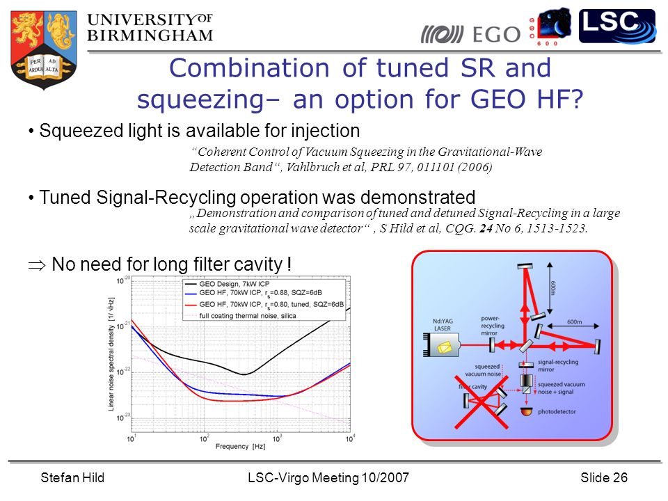 Stefan HildLSC-Virgo Meeting 10/2007Slide 26 Combination of tuned SR and squeezing– an option for GEO HF.