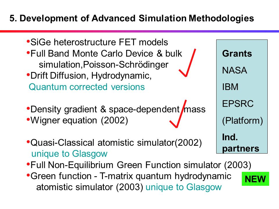 5. Development of Advanced Simulation Methodologies SiGe heterostructure FET models Full Band Monte Carlo Device & bulk simulation,Poisson-Schrödinger