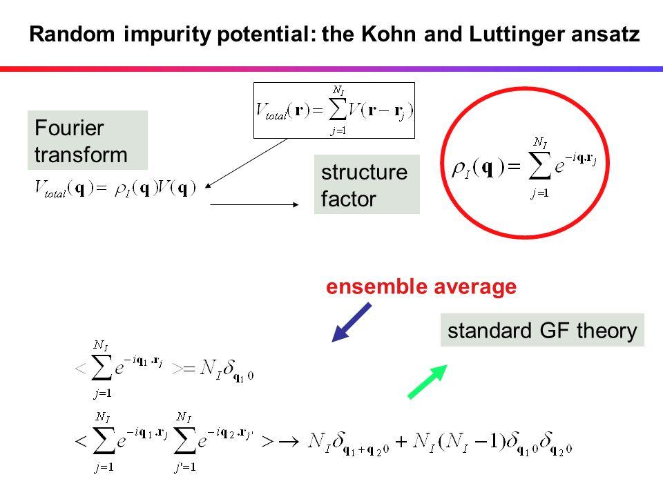 Random impurity potential: the Kohn and Luttinger ansatz Fourier transform structure factor standard GF theory ensemble average