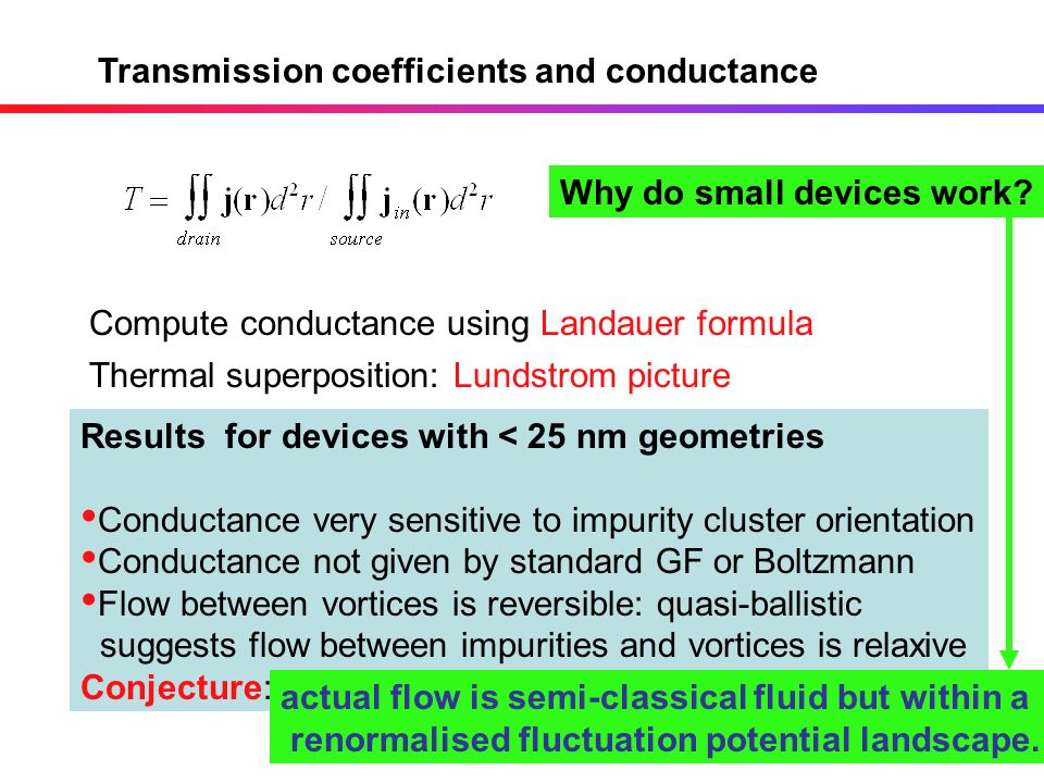 Transmission coefficients and conductance Compute conductance using Landauer formula Results for devices with < 25 nm geometries Conductance very sens