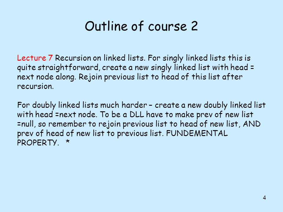 Outline of course 2 4 Lecture 7 Recursion on linked lists. For singly linked lists this is quite straightforward, create a new singly linked list with