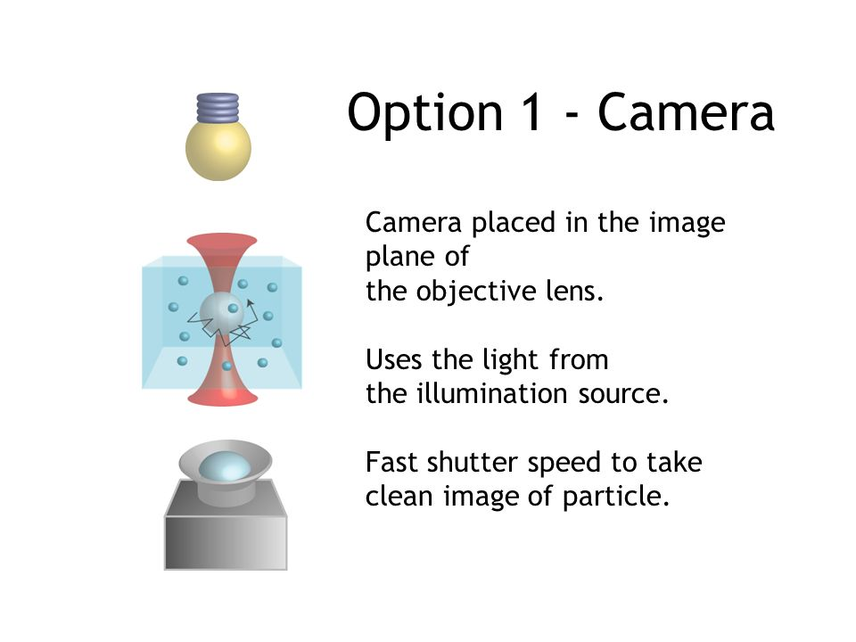 Option 1 - Camera Camera placed in the image plane of the objective lens. Uses the light from the illumination source. Fast shutter speed to take clea