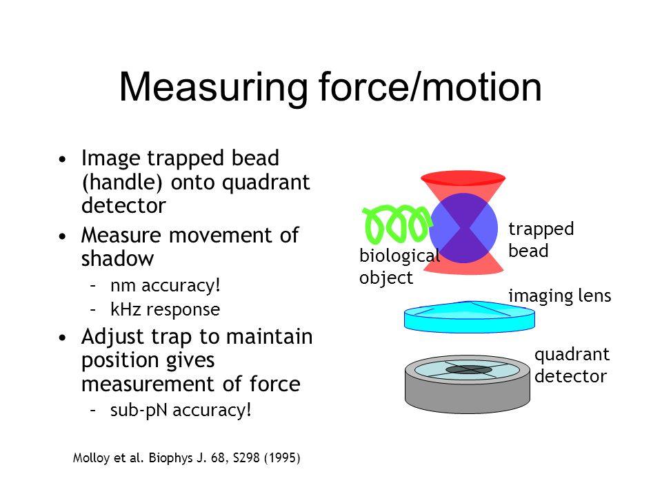 Measuring force/motion Molloy et al. Biophys J. 68, S298 (1995) biological object trapped bead quadrant detector imaging lens Image trapped bead (hand