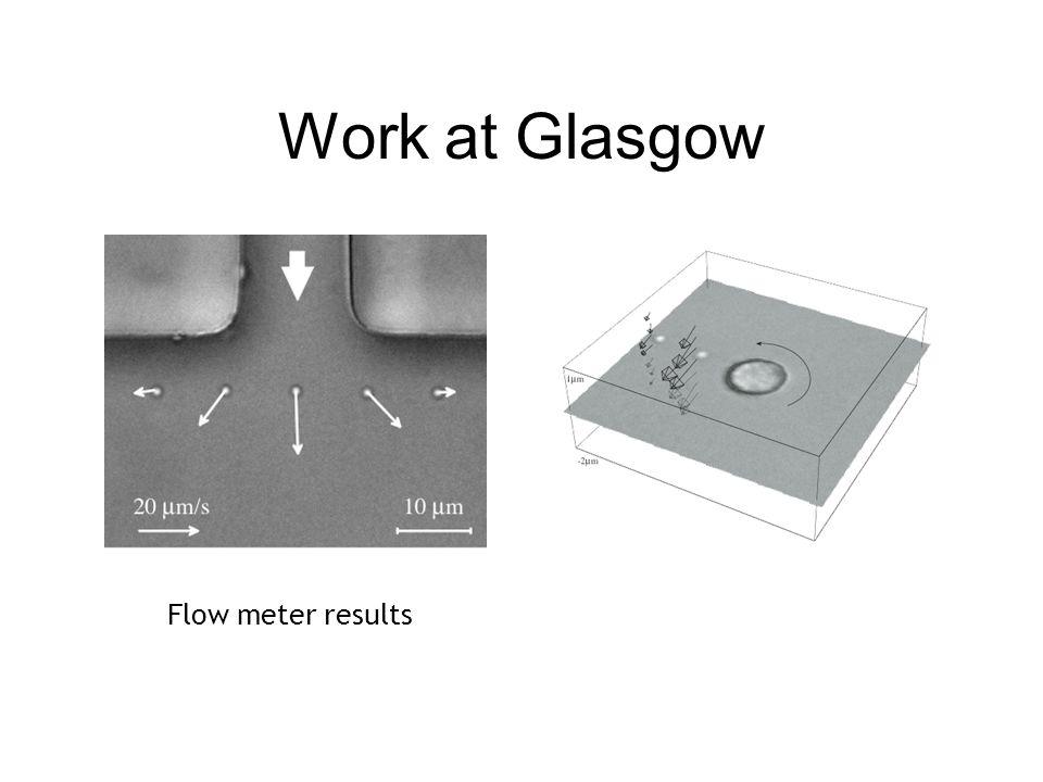 Work at Glasgow Flow meter results