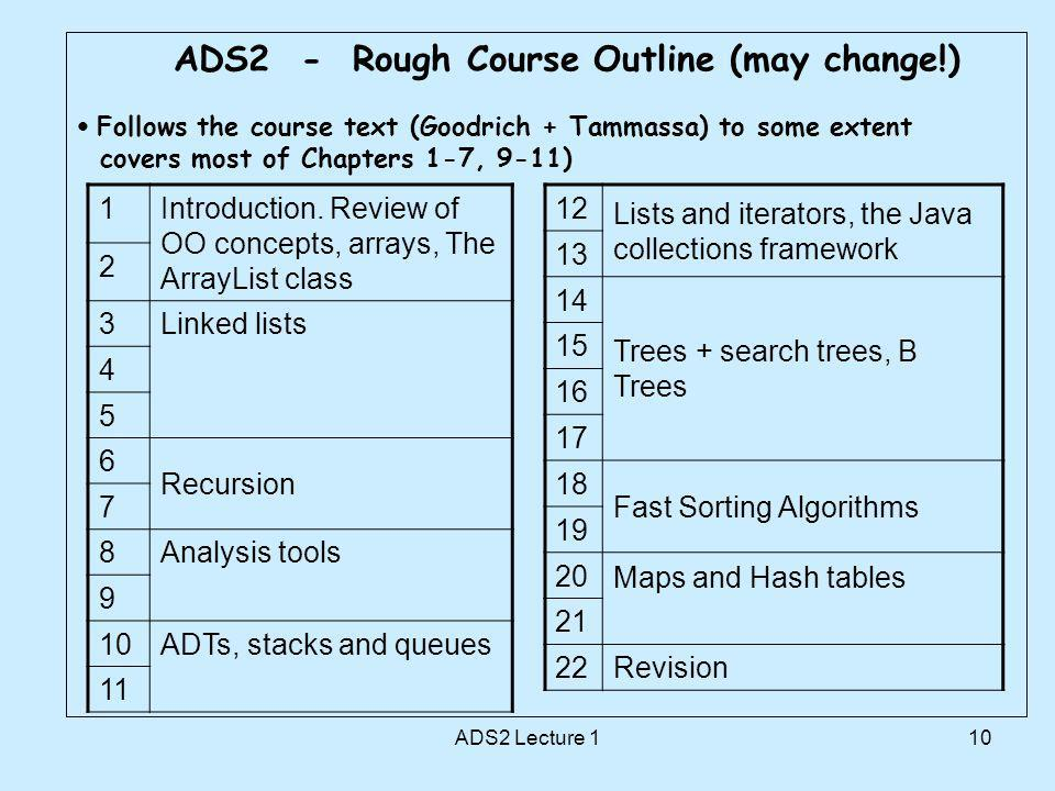 10 ADS2 - Rough Course Outline (may change!) Follows the course text (Goodrich + Tammassa) to some extent covers most of Chapters 1-7, 9-11) 1Introduction.
