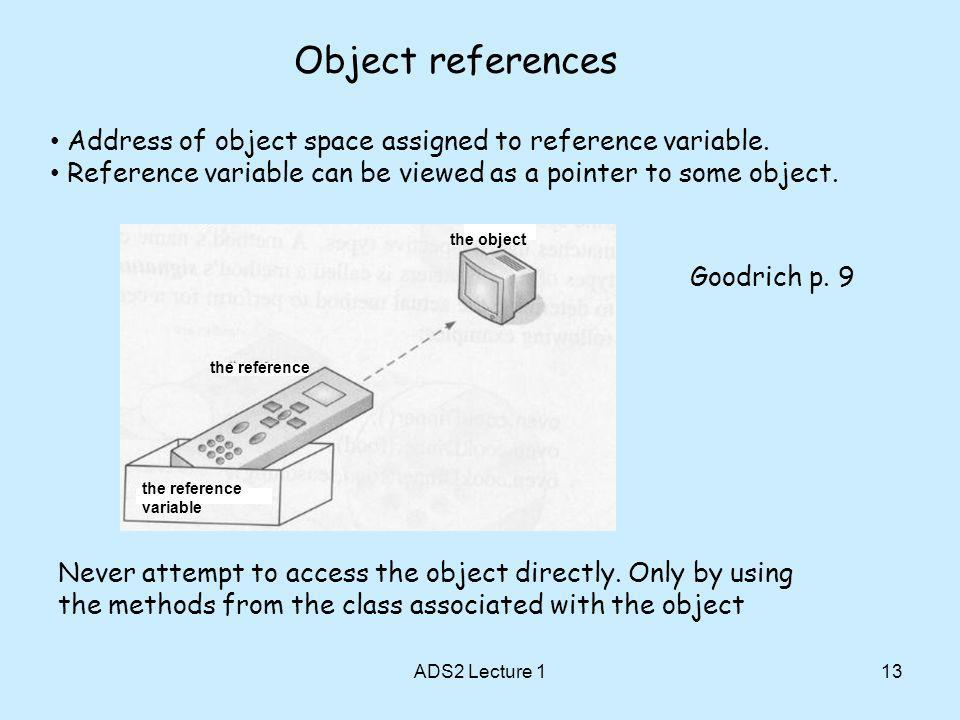 Object references 13 Address of object space assigned to reference variable.
