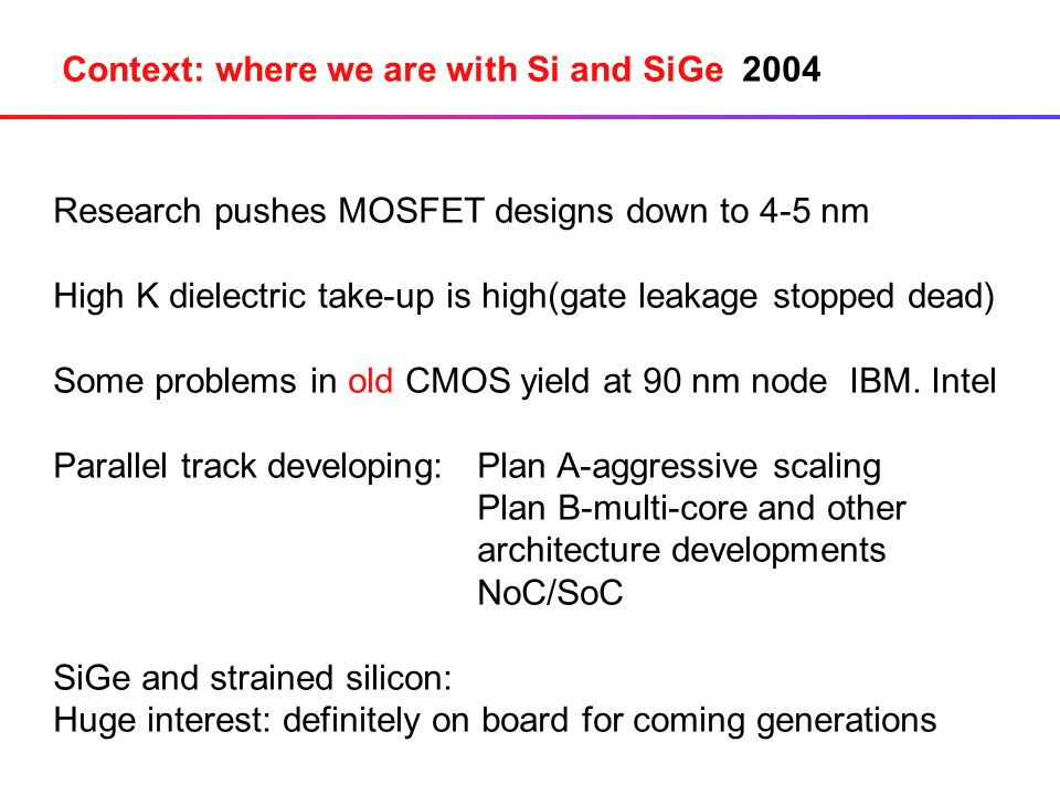 Context: where we are with Si and SiGe 2004 Research pushes MOSFET designs down to 4-5 nm High K dielectric take-up is high(gate leakage stopped dead) Some problems in old CMOS yield at 90 nm node IBM.