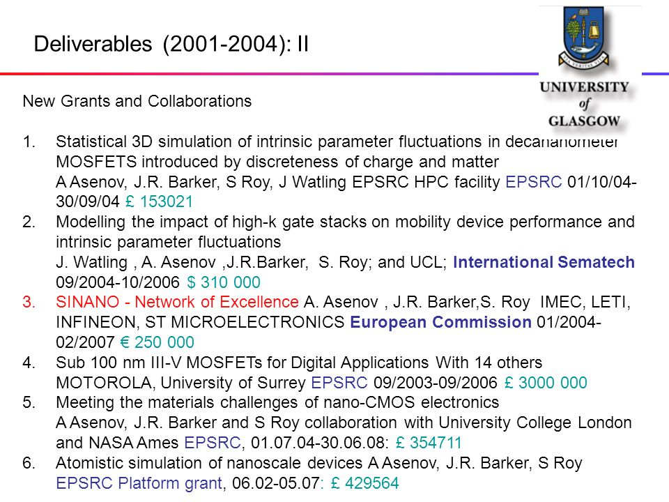 Deliverables (2001-2004): II New Grants and Collaborations 1.
