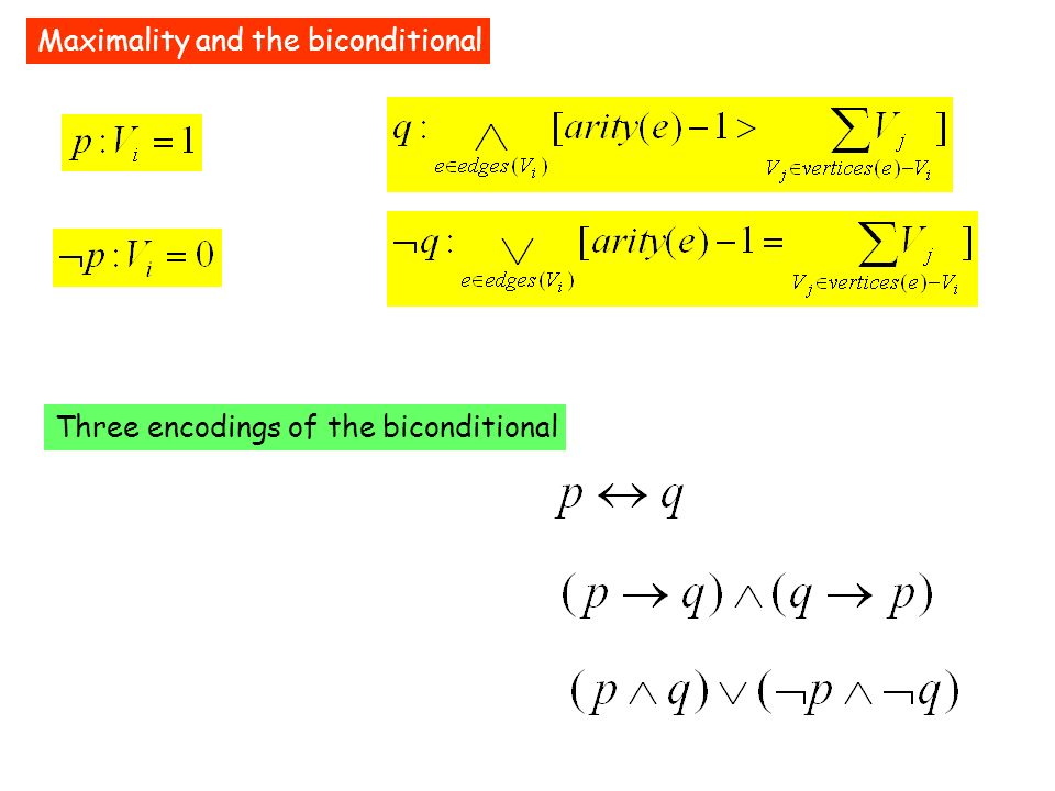 Maximality and the biconditional Three encodings of the biconditional