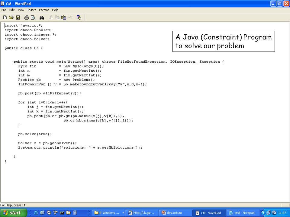 A Java (Constraint) Program to solve our problem