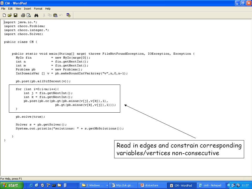 Read in edges and constrain corresponding variables/vertices non-consecutive