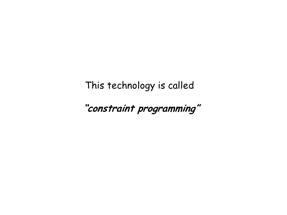 This technology is called constraint programming