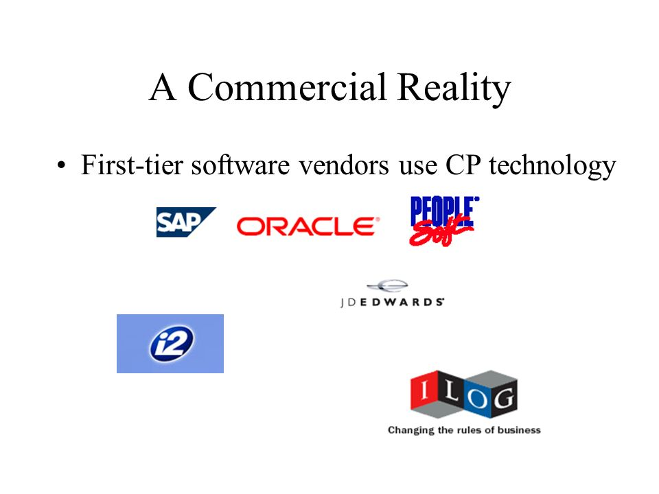 A Commercial Reality First-tier software vendors use CP technology