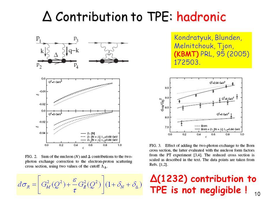 10 Kondratyuk, Blunden, Melnitchouk, Tjon, (KBMT) PRL, 95 (2005) 172503. Δ Contribution to TPE: hadronic Δ(1232) contribution to TPE is not negligible