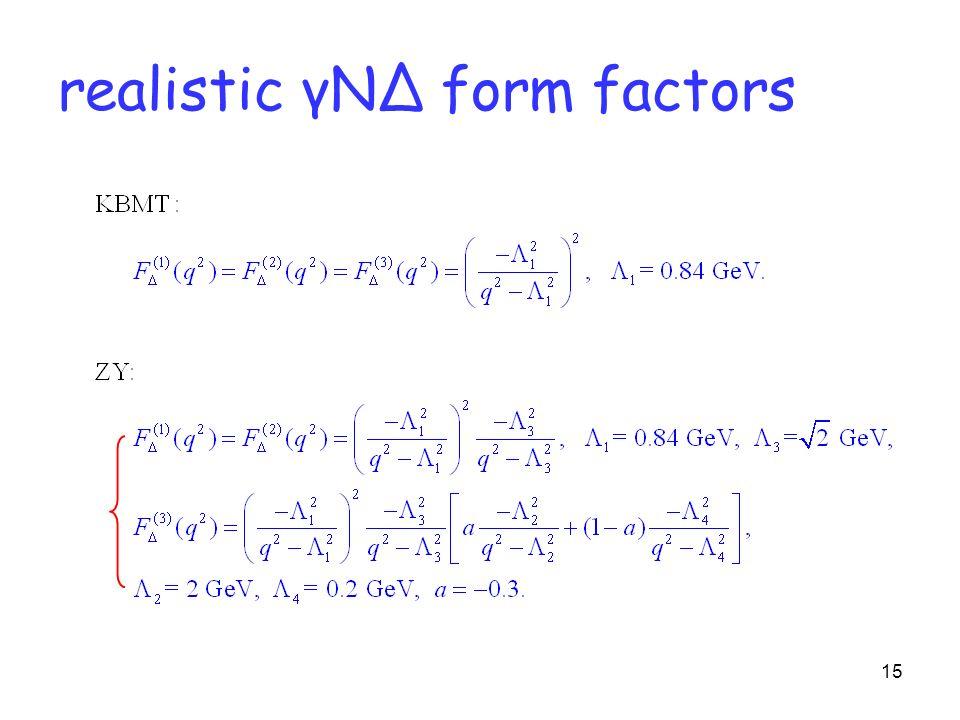 15 realistic γNΔ form factors