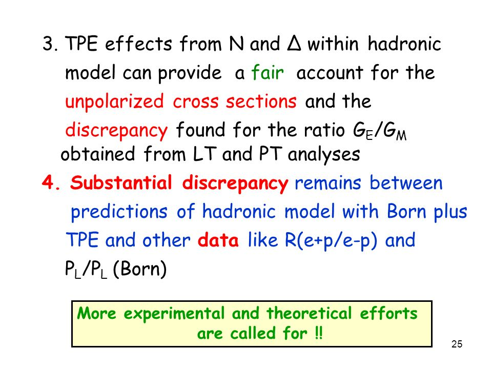 25 3. TPE effects from N and Δ within hadronic model can provide a fair account for the unpolarized cross sections and the discrepancy found for the r