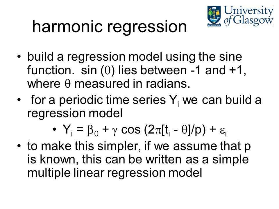 harmonic regression build a regression model using the sine function. sin ( ) lies between -1 and +1, where measured in radians. for a periodic time s
