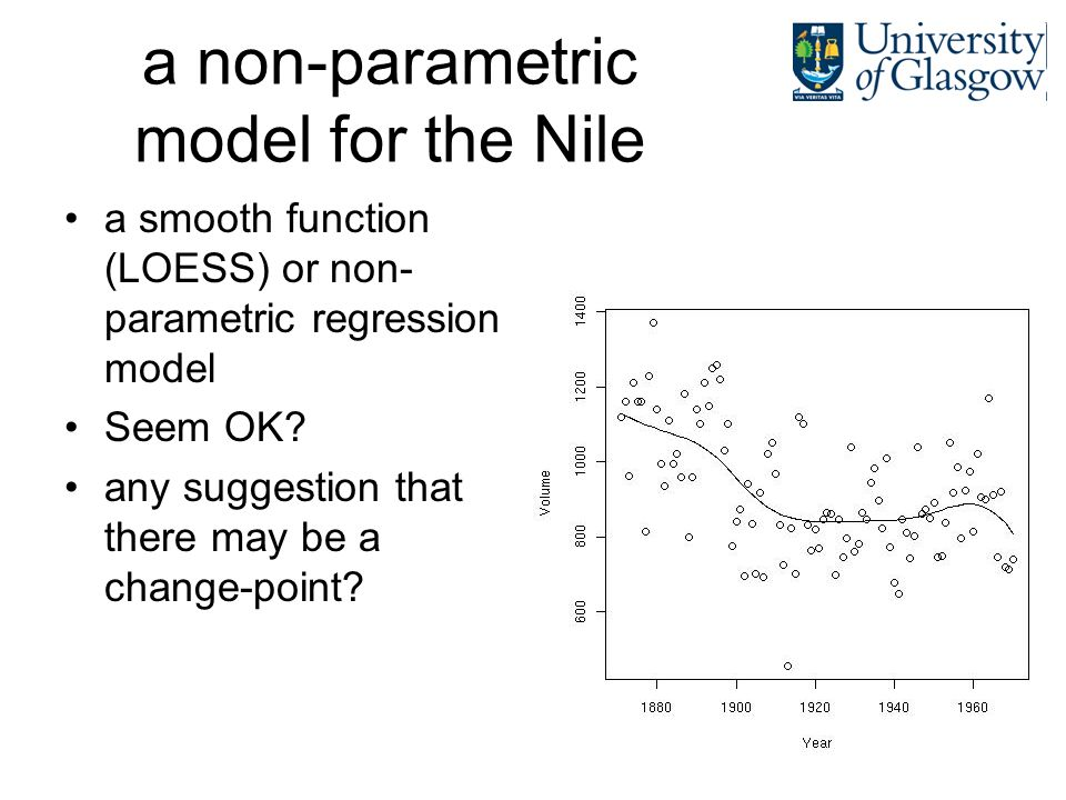 a non-parametric model for the Nile a smooth function (LOESS) or non- parametric regression model Seem OK? any suggestion that there may be a change-p