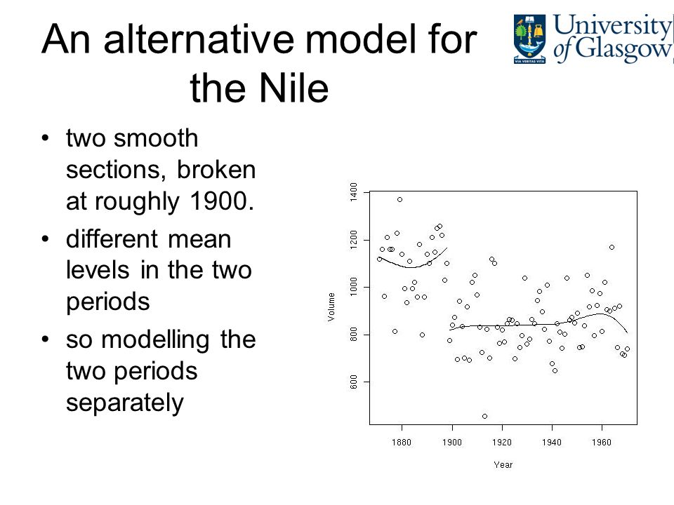 An alternative model for the Nile two smooth sections, broken at roughly 1900. different mean levels in the two periods so modelling the two periods s