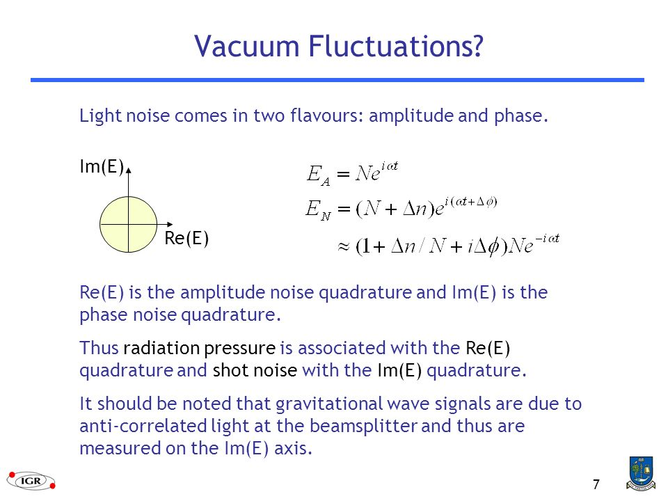 7 Vacuum Fluctuations.Re(E) Im(E) Light noise comes in two flavours: amplitude and phase.