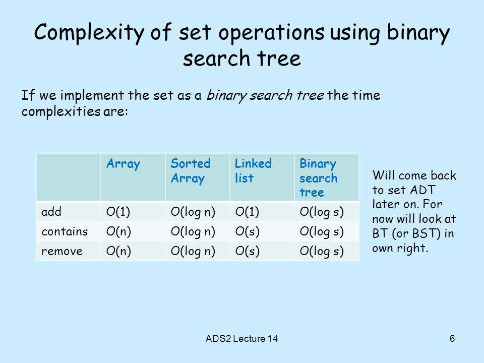 6 Complexity of set operations using binary search tree If we implement the set as a binary search tree the time complexities are: ADS2 Lecture 14 ArraySorted Array Linked list Binary search tree addO(1)O(log n)O(1)O(log s) containsO(n)O(log n)O(s)O(log s) removeO(n)O(log n)O(s)O(log s) Will come back to set ADT later on.