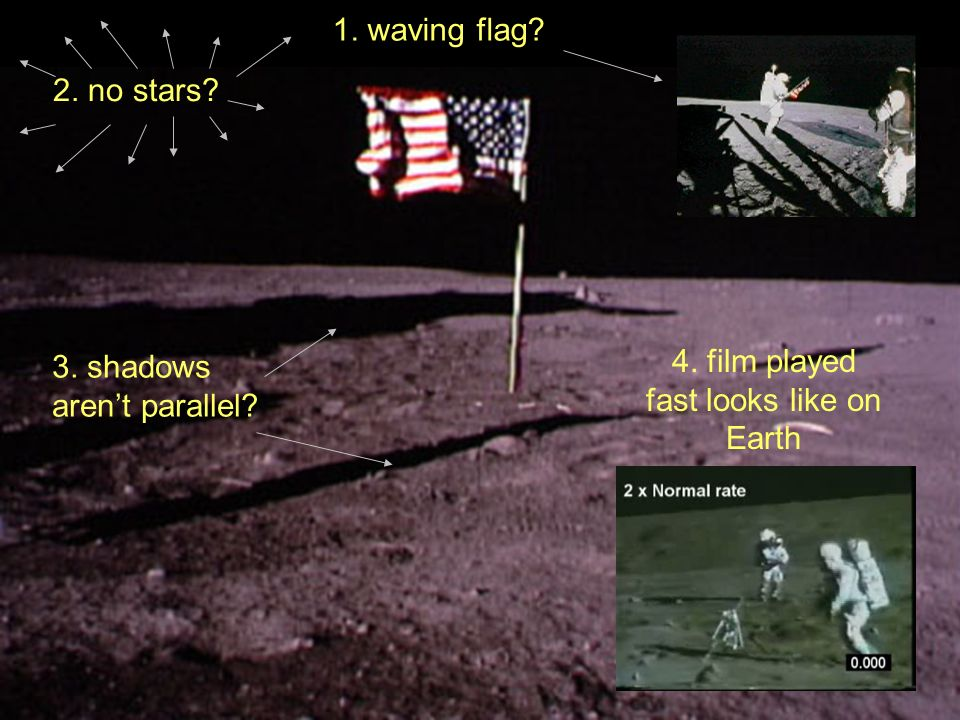 4. film played fast looks like on Earth 2. no stars? 1. waving flag? 3. shadows arent parallel?