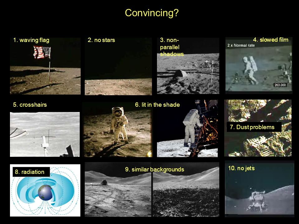 7. Dust problems 1. waving flag2. no stars3. non- parallel shadows 5. crosshairs6. lit in the shade 9. similar backgrounds Convincing? 8. radiation
