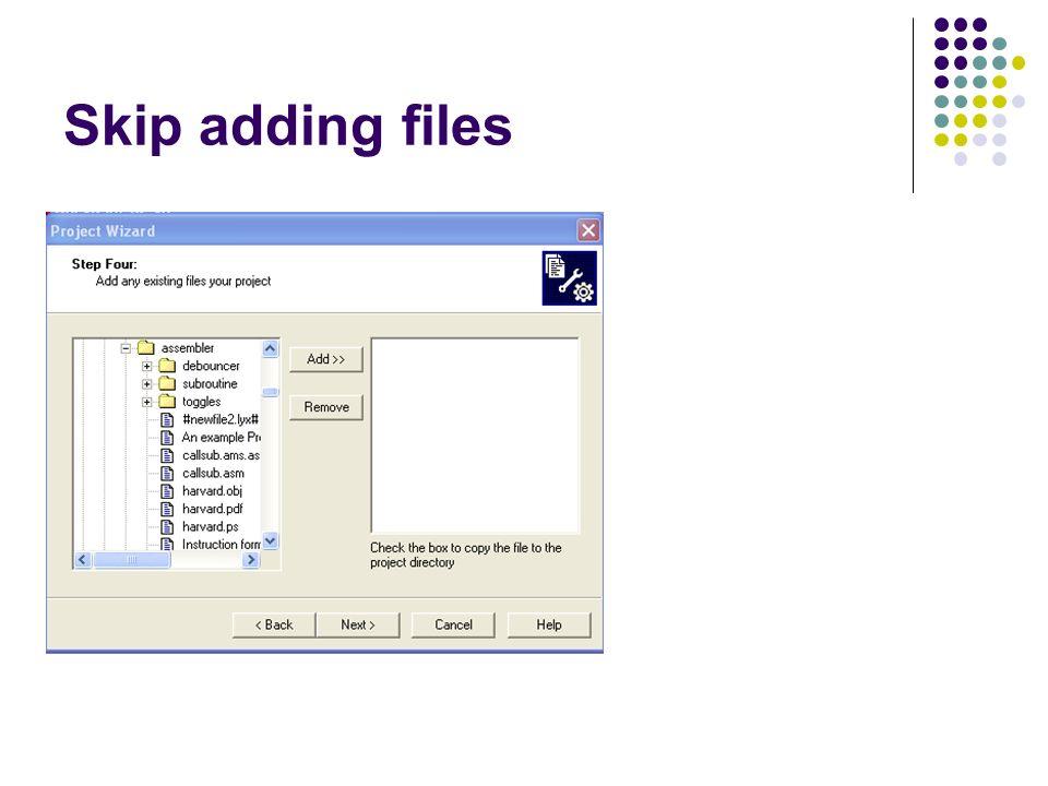 Skip adding files