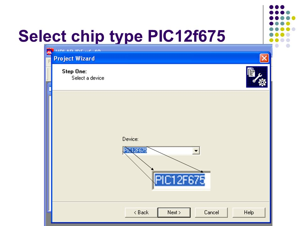 Select chip type PIC12f675