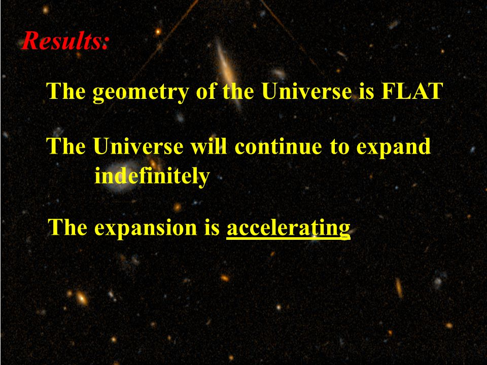 Results: The expansion is accelerating The geometry of the Universe is FLAT The Universe will continue to expand indefinitely