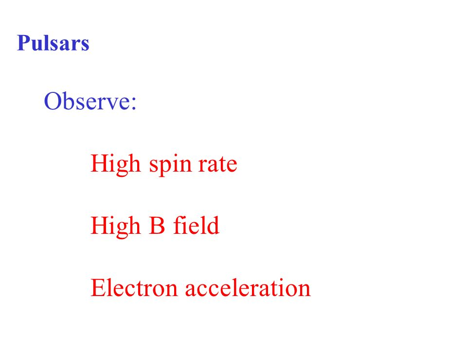 Pulsars Observe: High spin rate High B field Electron acceleration