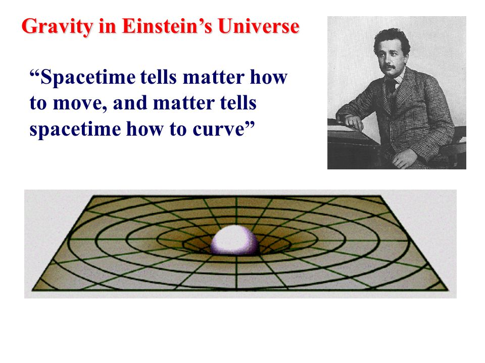 Gravity in Einsteins Universe Spacetime tells matter how to move, and matter tells spacetime how to curve