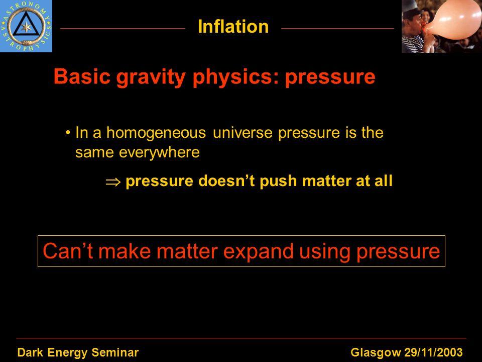 Dark Energy SeminarGlasgow 29/11/2003 Inflation Basic gravity physics: pressure In a homogeneous universe pressure is the same everywhere pressure doe
