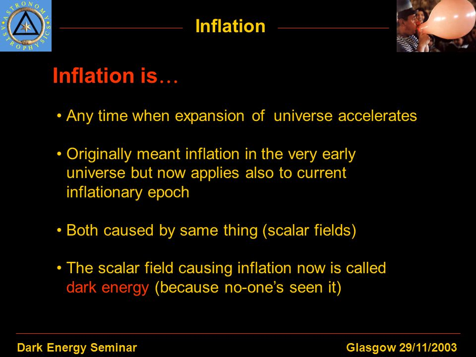 Dark Energy SeminarGlasgow 29/11/2003 Inflation Inflation is Any time when expansion of universe accelerates Originally meant inflation in the very ea